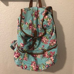 Teal with flowers backpack